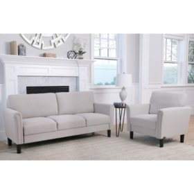 Bailey Fabric Sofa and Armchair Set (Assorted Colors)