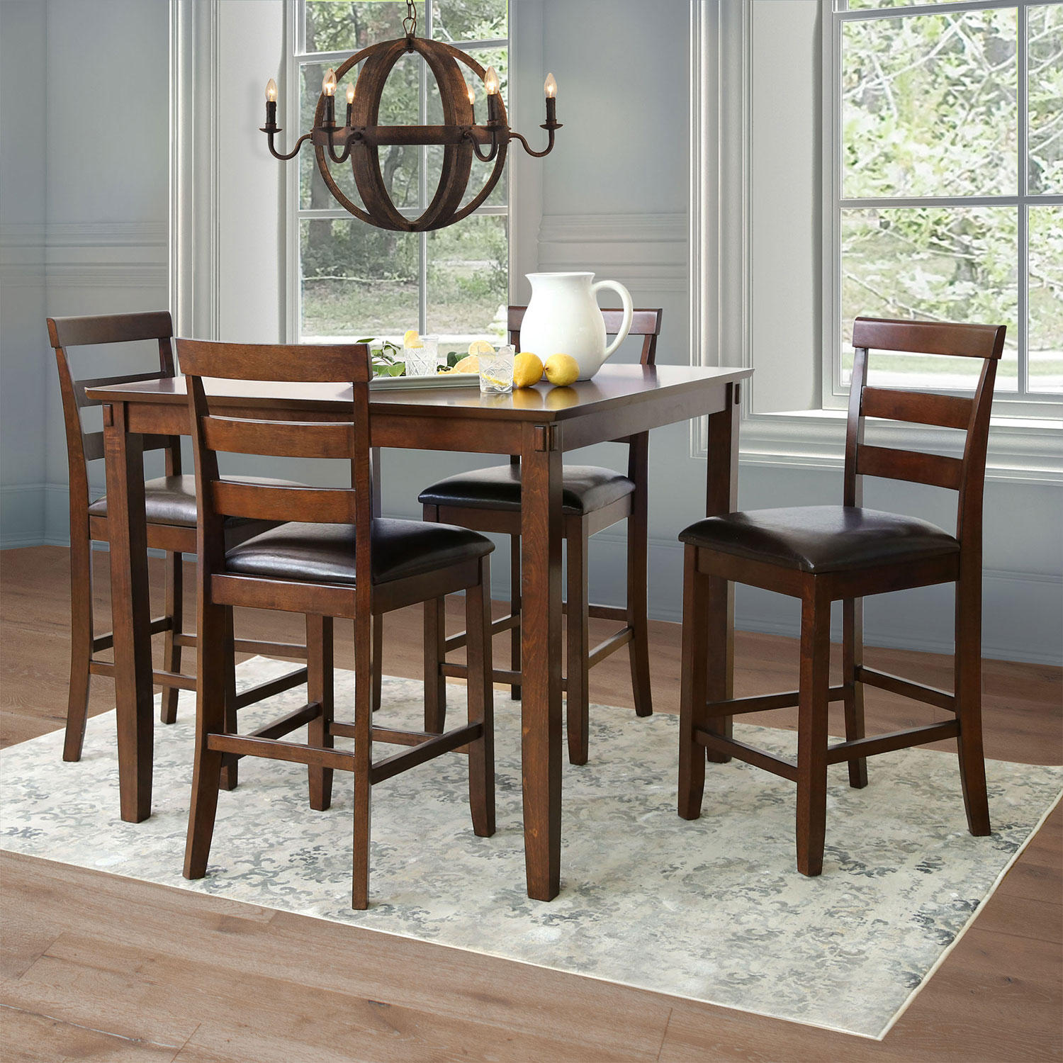 Abbyson Living Sycamore 5-Piece Counter-Height Dining Set
