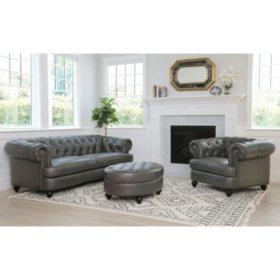 Westlake Tufted Top-Grain Leather Sofa, Armchair and Ottoman Set