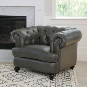 Westlake Grey Tufted Top Grain Leather Chair