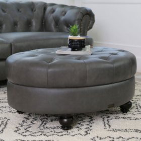 Westlake Grey Tufted Top Grain Leather Round Ottoman