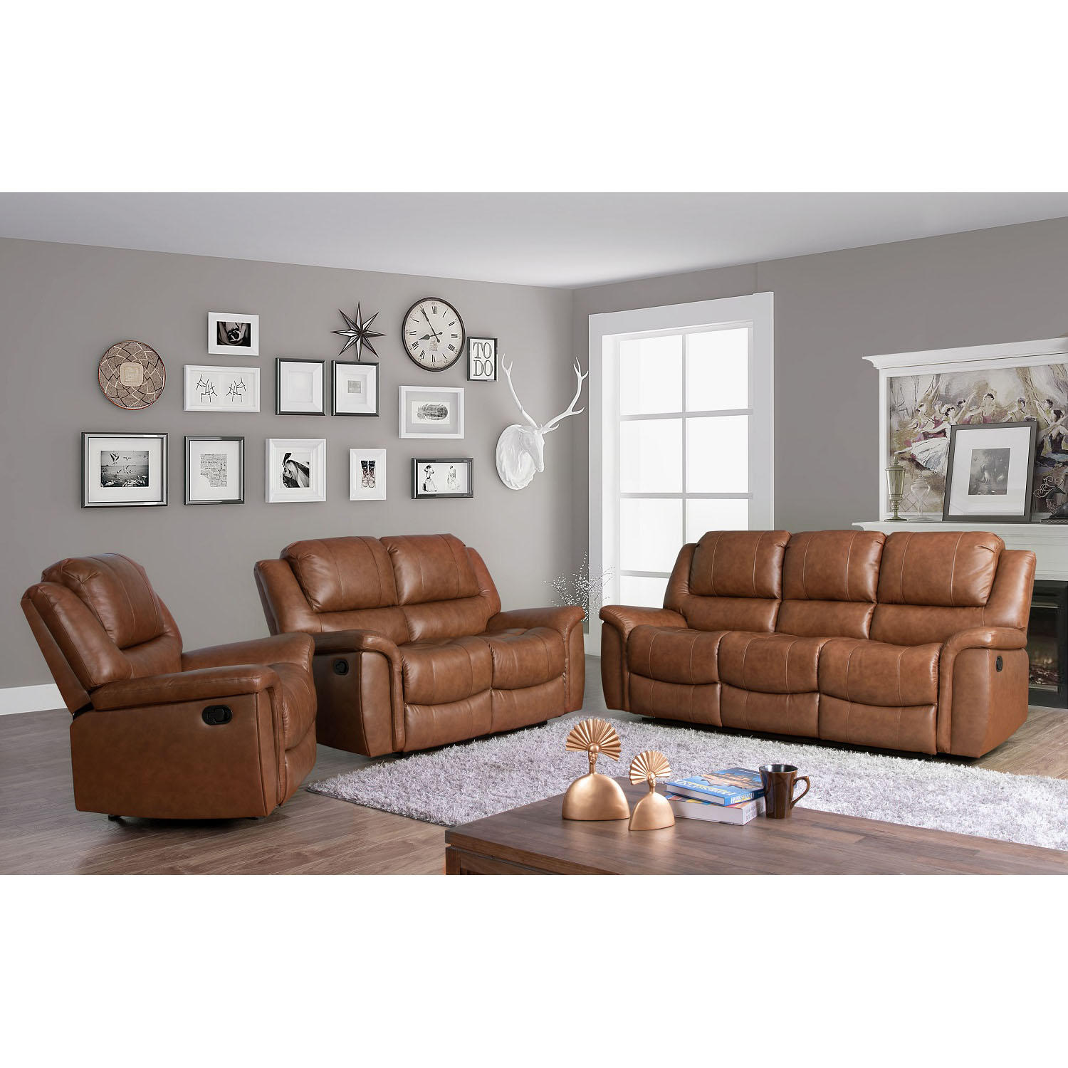 Syracuse 3 Piece Top-Grain Leather Reclining Sofa Set