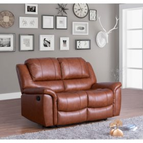 Syracuse Top-Grain Leather Reclining Loveseat