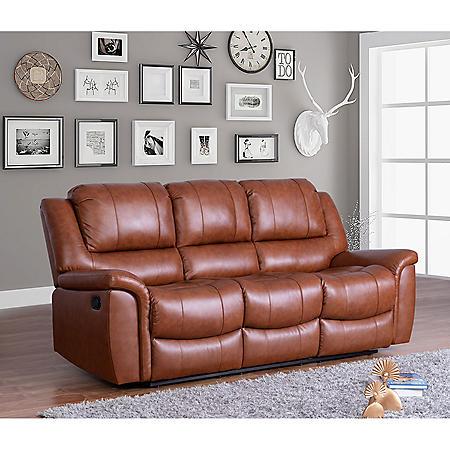 Syracuse Top-Grain Leather Reclining Sofa
