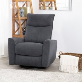 Jewel Fabric Swivel Recliner