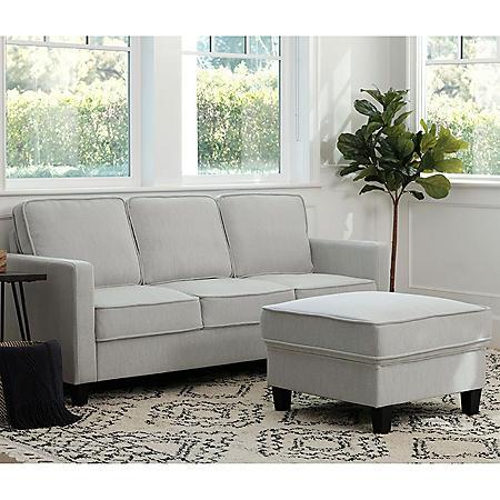 Princeton Fabric Sofa and Ottoman Set (Assorted Colors)
