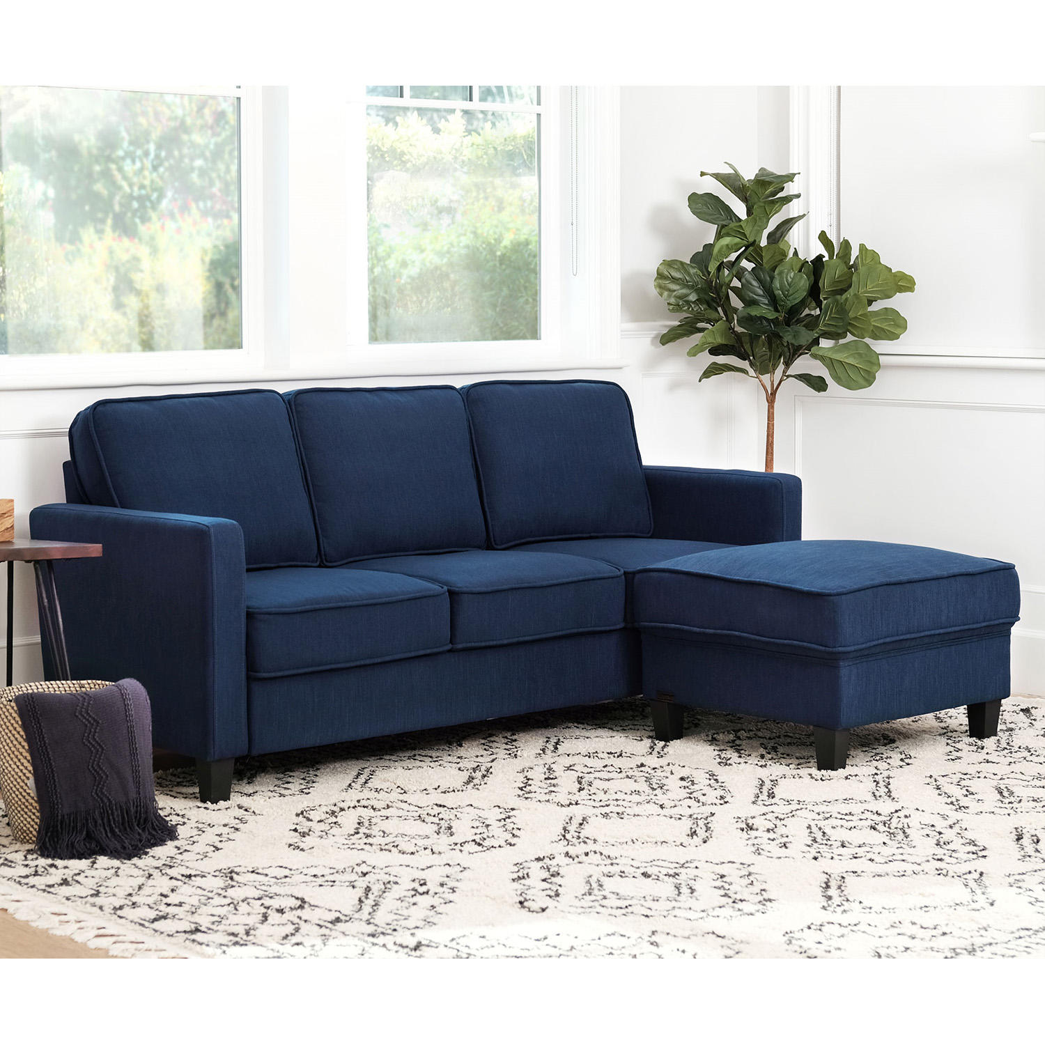 Abbyson Living Princeton Fabric Sofa and Ottoman Set