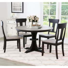 Belle Round Farmhouse 5-Piece Dining Set