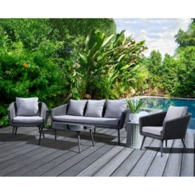 Coronado 4-Piece Patio Seating Set, Gray