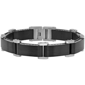 Men's Black Stainless Steel with Corded Side Inlay Bracelet