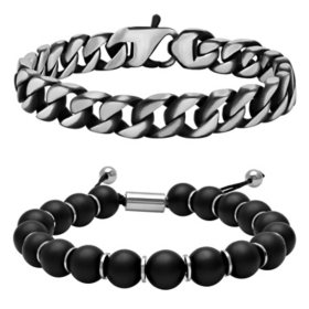 Stainless Steel Onyx Bead Bolo & Black Ion Plated Curb Link Bracelet Set
