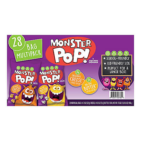 Monster Pop! Cheese and Butter Kids Popcorn Snack Pack (28pk)