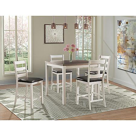 Kona 5-Piece Dining Set (Choose Height & Color)