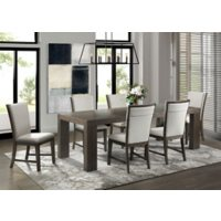 Society Den Brady 7-Piece Dining Set, Table & Six Upholstered Side Chairs