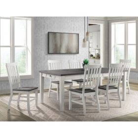 Society Den Kayla Two-Tone 7-Piece Dining Set - Table with Six Chairs (Choose Height)