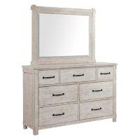 Society Den Jack 7-Drawer Dresser with Mirror Set, Whitewash