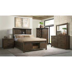 Society Den Jack Platform Storage Bedroom Set in Walnut, Assorted Sets and Sizes