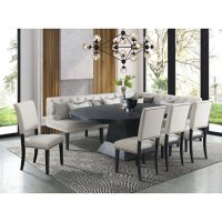 Society Den Mara 8-Piece Oval Dining Set with Four Side Chairs and Banquette Seating