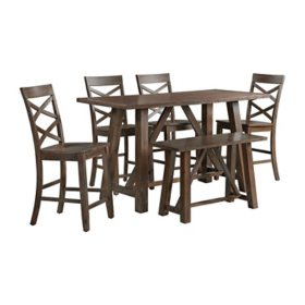 Society Den Reagan 6-Piece Counter Height Dining Set with Table, 4 Side Chairs & Bench, Assorted Colors