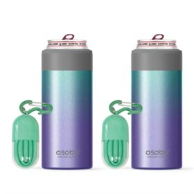 Asobu Slim Can Kuzie Beverage Holder, 2 Pack (Assorted Colors)