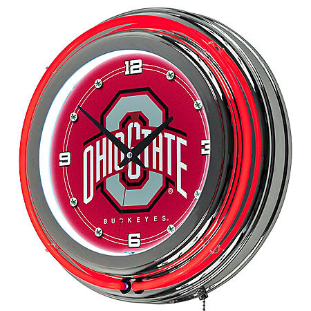 Ohio State University Neon Wall-Mounted Clock (Assorted Styles)