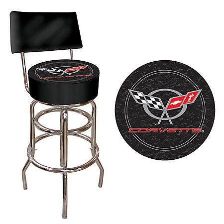 Corvette C5 Padded Bar Stool with Back (Assorted Colors)