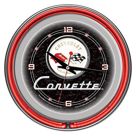 """Corvette C1 Neon Clock , 14"""" Diameter (Assorted Colors)"""