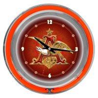 """Budweiser A & Eagle 14"""" Neon Wall Clock"""