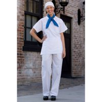 Baggy Chef Pants with Drawstring & Elastic Waist, White