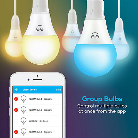 Geeni 4-Pack Smart Wi-Fi LED Color + White Light Bulb