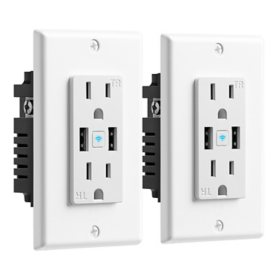 Geeni Current + Charge Smart Wi-Fi  2 Outlet In-Wall Plug with 2 USB Ports – Smart Plug (2 Pack)