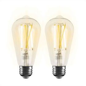 Geeni LUX Edison ST21 Edison Wi-Fi LED Smart Bulb (2 Pack)