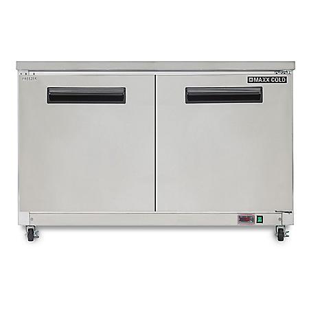 Maxx Cold X-Series Double Door Undercounter Commercial Freezer in Stainless Steel (12 cu. ft.)