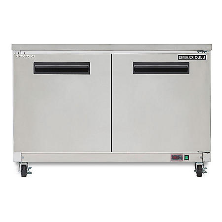 Maxx Cold X-Series Double Door Undercounter Commercial Refrigerator, Stainless Steel (15.5 cu. ft.)