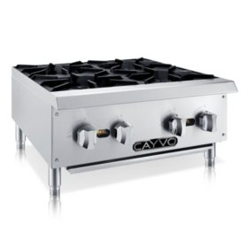 Cayvo Stainless Steel Hot Plates, 4 Burners (Choose Liquid Propane or Natural Gas)