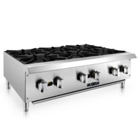 Cayvo Stainless Steel Hot Plates, 6 Burners (Choose Liquid Propane or Natural Gas)