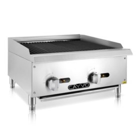 Cayvo Radiant Charbroiler with Stainless Steel Countertop (Choose Natural Gas or Liquid Propane)