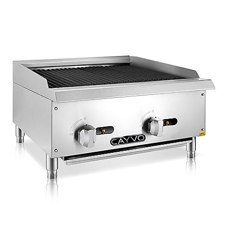"Cayvo Stainless Steel Char-Rock Broiler 24"" (Choose Liquid Propane or Natural Gas)"