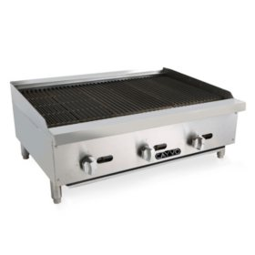 "Cavyo Stainless Steel Gas Rock Char-Broiler 36"" (Choose Liquid Propane or Natural Gas)"