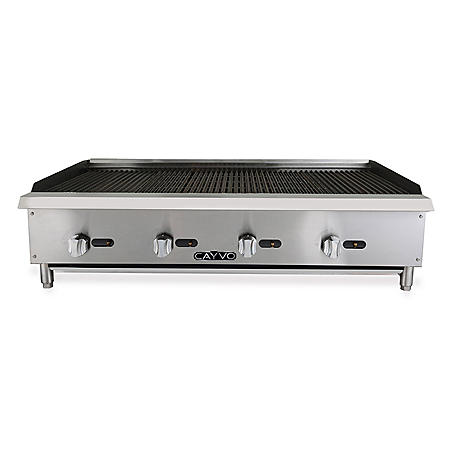 "Cayvo Stainless Steel Gas Char-Rock Broiler 48"" (Choose Liquid Propane or Natural Gas)"