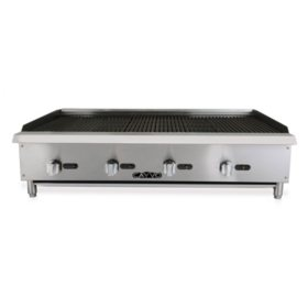 """Cayvo Stainless Steel Gas Char-Rock Broiler 48"""" (Choose Liquid Propane or Natural Gas)"""