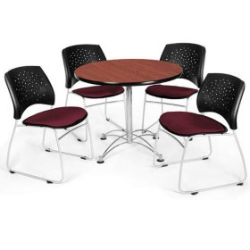 Star-Back Table and Chair Set - Wine/Cherry
