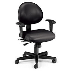 24-Hour Anti-Microbial Vinyl Computer Task Chair with Arms - Various Colors