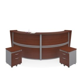 Marque Double-Unit Reception Station with 2 Locking Drawer Pedestals, Select Color