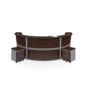 Marque Triple-Unit Reception Station with 2 Locking Drawer Pedestals, Select Color