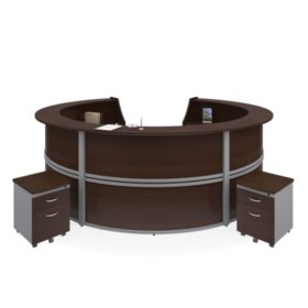 Marque 5-Unit Reception Station with 2 Locking Drawer Pedestals, Select Color