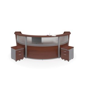 Marque Triple-Unit Reception Station Plexi-Panel Front and 2 Locking Drawer Pedestals, Select Color