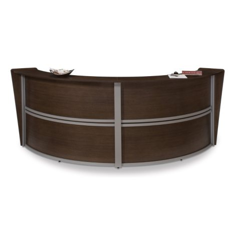 Double Reception Desk Wood Front - Walnut