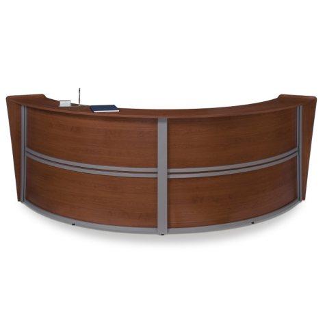 Double Reception Desk Wood Front, Cherry