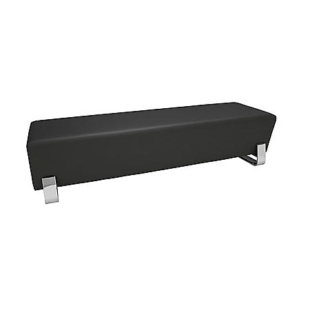 OFM Core Collection Axis Series Contemporary Triple Seating Bench, Textured Vinyl with Chrome Base, in Midnight (4003C-MDN)